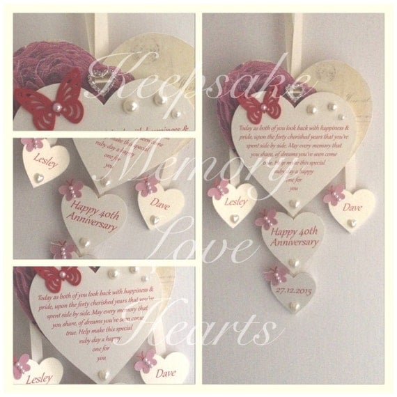 40th Ruby Anniversary Gift Personalised Wooden By KeepsakeHearts