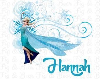 Personalized Frozen Shirt Iron On Transfer for Girls Princess Elsa