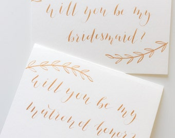 Will You Be My Bridesmaid, Maid of Honor Card in Handwritten Modern Calligraphy, Olive Leaf