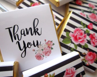 Personalised Chocolates Floral Thank You  party favours