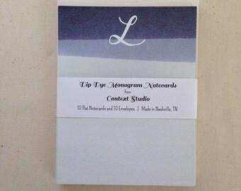 Monogram Notecard Set of 10 with Envelopes, L, Dip Dye
