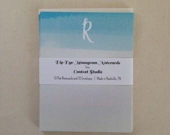 Monogram Notecard Set of 10 with Envelopes, R, Dip Dye