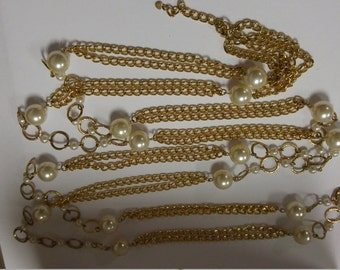 Extra Long chain and faux pearl necklace