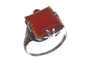 Art Deco Sterling Silver Filigree Carnelian Ring