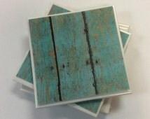 Turquoise Ceramic Tile Coasters,Teal Coasters,Handmade Tile Coasters