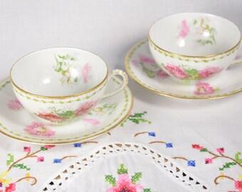 A. Lanternier & Co. cups/ Limoges France / porcelaine de limoges