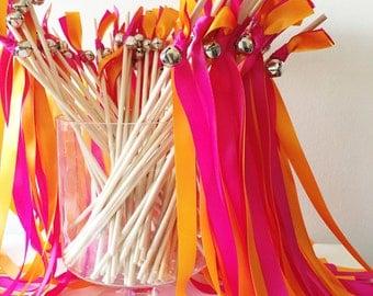 50 Wedding Wands, Wedding Send Off Streamers, Ribbon Wands, Double Ribbon Wedding Wands With Bells