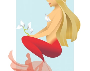 "Mermaid Print D 8.5x11"""