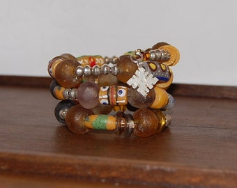 Brown Recycled  Glass and ethiopian silver  beads  Memory Wire Bracelet