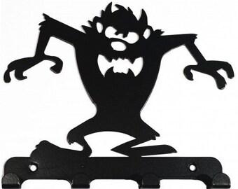 Taz-Style Tasmanian Devil Silhouette Key Hook Rack - metal wall art