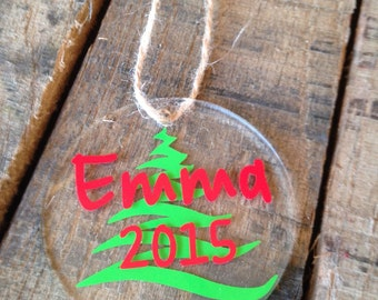 "Personalized Christmas Ornaments 3"" Round Acrylic Christmas Ornaments Christmas Ornament Monogrammed Christmas Ornament"