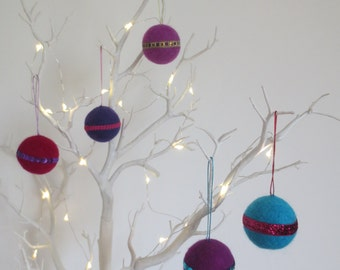 Felted baubles hanging ornaments in rich purple, blue, indigo and burgundy SALE