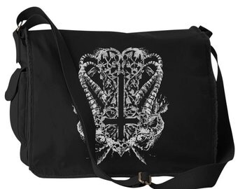 Inverted Cross Satanic Metal Messenger Bag