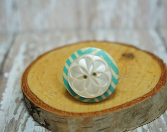 Aqua and White Flower Button Ring