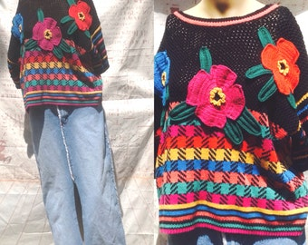 FUNKY FAB FLOWER !Geometric,bright neon pull over sweater..HOng Kong