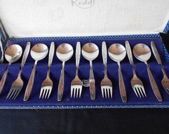 """Rodd """"Starburst""""  EPNS Cake Forks and Dessert Spoons in Original Box"""