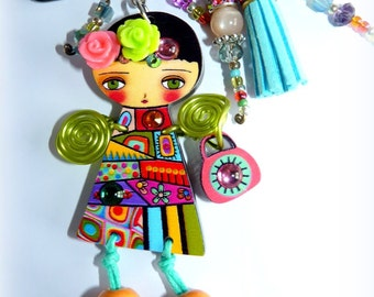 PIN pin doll multicolor-paperback doll-Art-Crystal-pin ethnic-room single