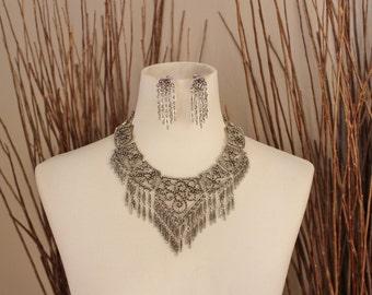 Vintage 1960's Boho Chandelier Necklace and Earring Set