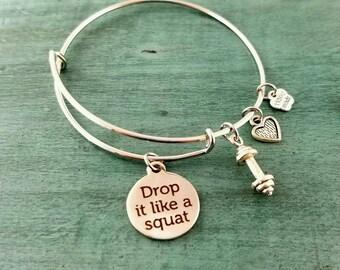 Drop it Like a Squat Adjustable Bangle Bracelet
