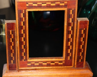 Wood Inlay Picture Frame Circa 1940s All Wood Swinging Frame Beautiful Workmanship Excellent Vintage Condition