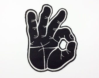 Punk Patch OK fingers patches embroidered patch iron on patch sew on patch (A78)