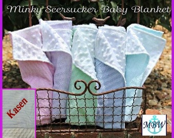 Monogrammed Baby Blanket,Personalized Baby Blanket, Baby Blanket Personalized, baby blanket, Seersucker baby Blanket, Minky Baby Blanket-BB