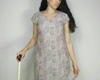"""Lilac + Green Floral Semi Sheer Nightgown Tunic / Dress size M/L (bust: 40"""")"""
