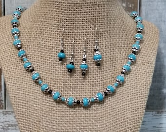 Turquoise Necklace and Earring Set, Western Jewelry, SouthWestern Jewelry, Rodeo Jewelry