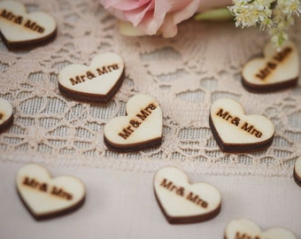 Mr and Mrs Wooden Hearts Table Confetti, Table Confetti, Table Decorations, Wedding Decorations, Wooden Hearts, Craft Supplies, Card making