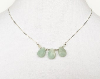 Amazonite 925 sterling silver necklace, faceted drop pendant