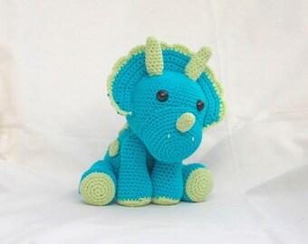 Crochet Triceratops, crochet dinosaur, MADE TO ORDER, amigurumi Triceratops, crochet baby shower, new baby gift, crochet nursery decoration