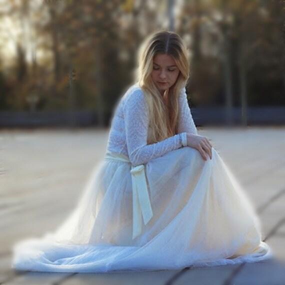 ecru tulle skirt handmade maxi skirt ivory ballerina skirt