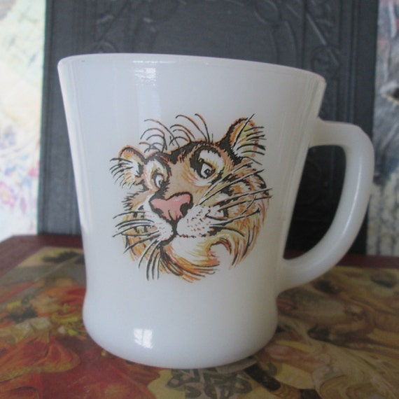 Vintage Fire King Esso Tiger Coffee Cup 1960s by MojosBooks