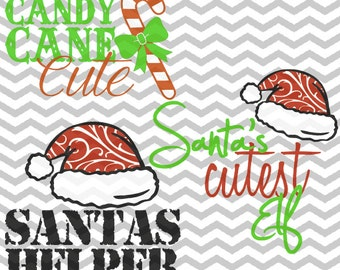 Santa's Helper, Santa's Cutest Elf, Candy Cane Cute, Baby Christmas, Kid Christmas, .SVG/.PNG/.EPS Files for all Vinyl Cutting Machines