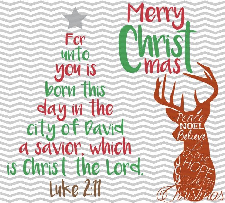 Merveilleux Christmas Tree Bible Verse, Christmas Deer, Merry Christmas, Luke 2:11, Bible  Verse, .SVG/.EPS/.PNG Files For All Vinyl Cutting Machines
