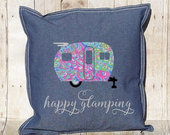 Camper Pillow Cover  ~ 20x20 ~ 100% Cotton Zippered Cover ~ Happy Camper ~ Happy Glamping ~ many patterns to choose from!!