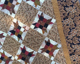 Reproduction Type Quilt /Quilted Wall Hanging/ Quilted Throw/ Fall Quilt