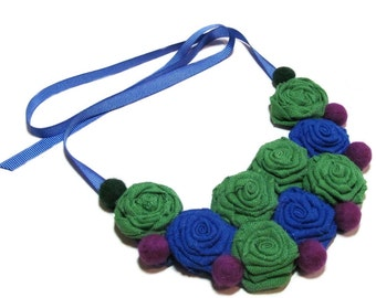 Green Blue Necklace, Fabric Necklace, Wool Necklace, Linen Necklace, Bib necklace, Gift for her, For women, For girls