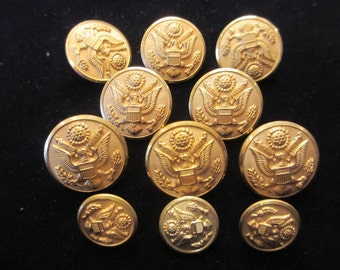 Set of Eleven Pristine Vintage US Army Dress Brass Military Uniform Buttons- Waterbury Button Co