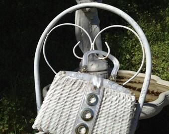 Vintage 60's White Handbag *  Wicker * Lucite Handles