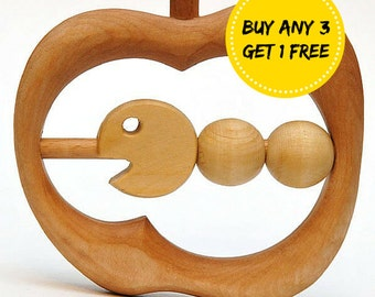 Wooden Teether Very Hungry Caterpillar Baby toy Organic Wooden Rattle Toy Eco Friendly Handmade Baby Shower