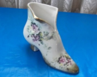 Vintage Nippon Shoe Vase Hand Painted
