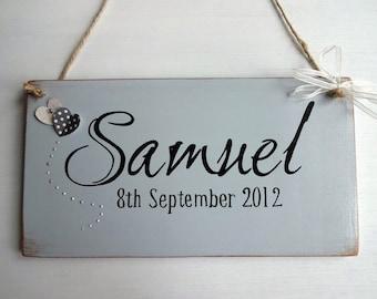 Childrens name hanging door sign