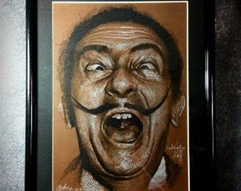 drawing on paper, Portrait Salvador Dali