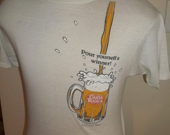 Medium Vintage 1980s Carta Blanca Mexican Beer Pour Yourself a winner Soft Burnout Thin 80s t shirt