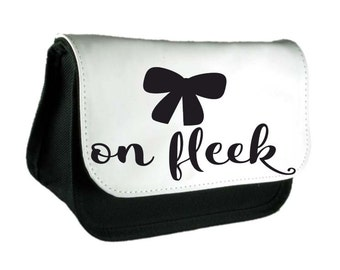 Bow On Fleek Cute Statement Pencil Case Or Clutch Purse Make Up Bag