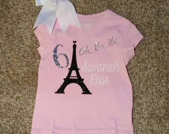 Girl Glittered Birthday Shirt with bow