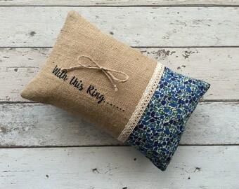 Ring Pillow, Liberty floral Print, Harris Tweed, Ring Bearer Pillow, Country Wedding, Rustic Wedding, Barn Wedding Accessory