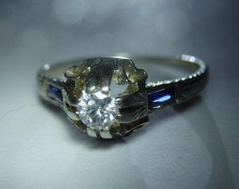 antique sapphire diamond ring 18k white gold, size 71/4