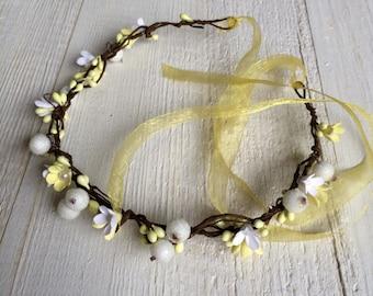 Summer wedding flower wreath Beach Cottage hair accessories headband beads berries in her hair open-air festivals